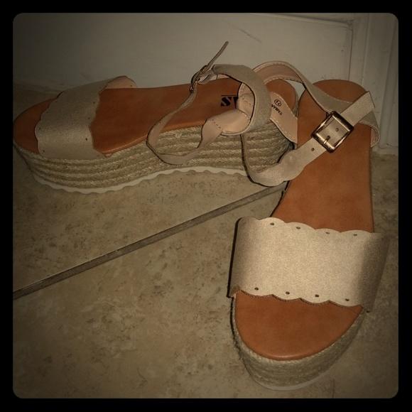 49b90bced2a6 Platform Nude beige platform sandals wedges